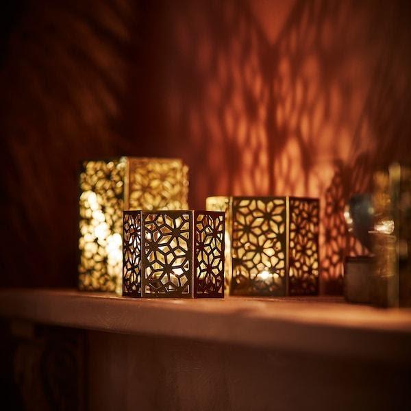 LJUVARE Tealight holder, gold-colour, 8 cm