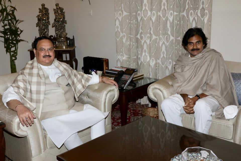 Pawan Kalyan talks to media after met JP Nadda