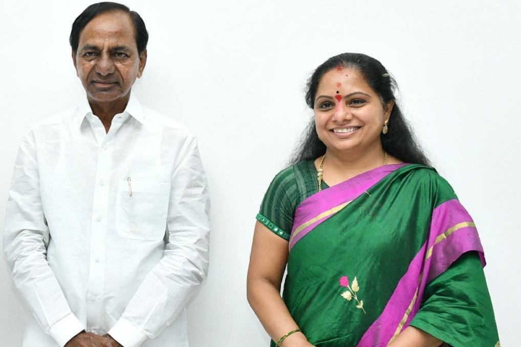 Kalvakuntla Kavitha gets her father CM KCR blessings after she won Nizamabad MLC