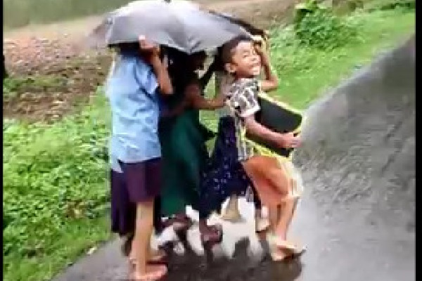 Video of kids in an umbrella viral on Social Media