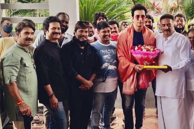 Prakash Raj felicitated Sonu Sood on Alludu Adurs sets