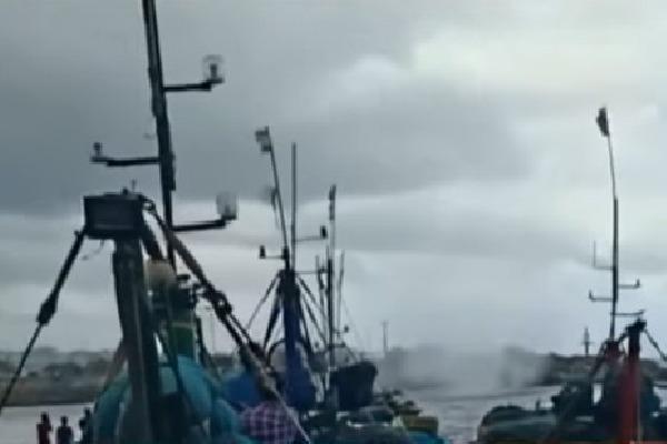 Tornado appears at Visakha fishing harbor