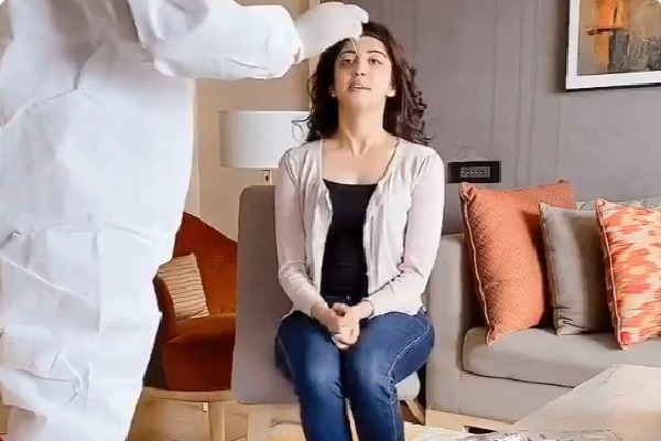 Pranitha shares corona testing video
