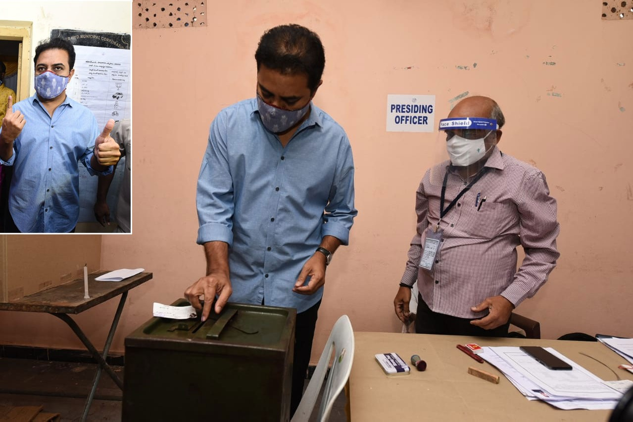 Minister KTR Cast his vote in Nandi Nagar
