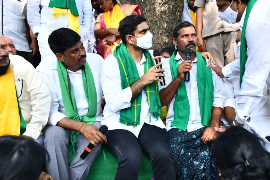 Nara Lokesh visits Prakasham district farmers