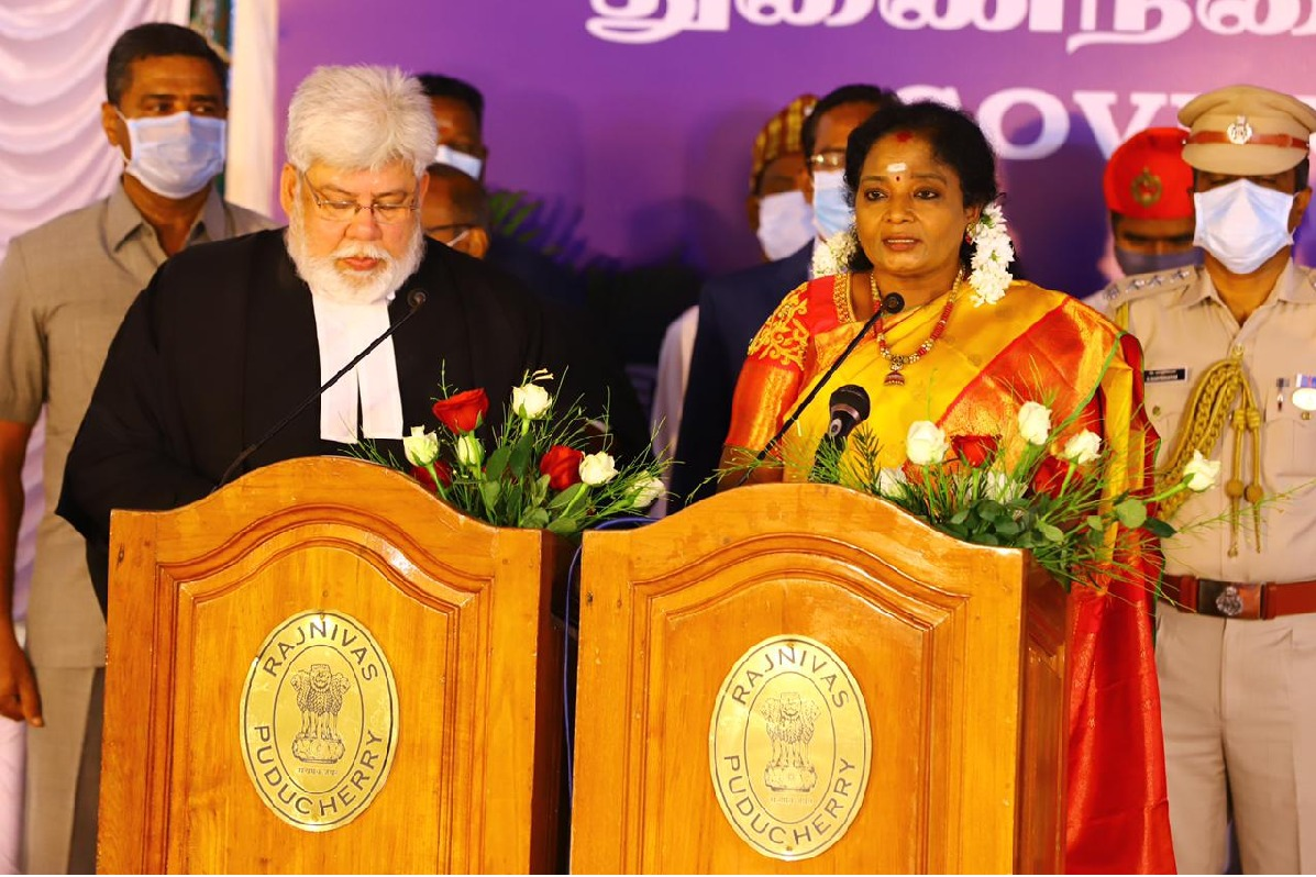 tamilisai takes oath as LieutenantGovernor of Puducherry