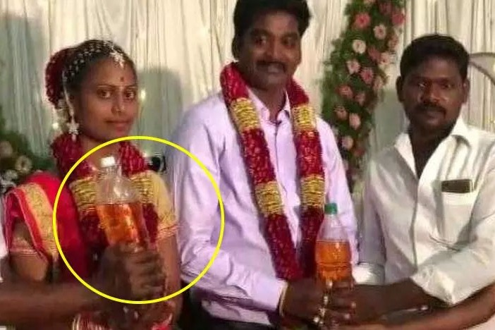 Friends gift petrol and gas cylinder for newly wedding couple