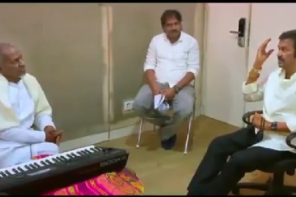 Mohan Babu recites a prose in front of music maestro Ilayaraja