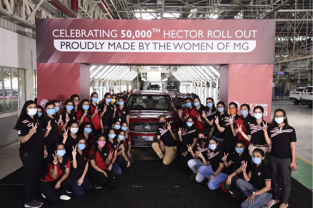 Morris Garages India Rolls Out The 50000th MG Hector With An All Women Crew