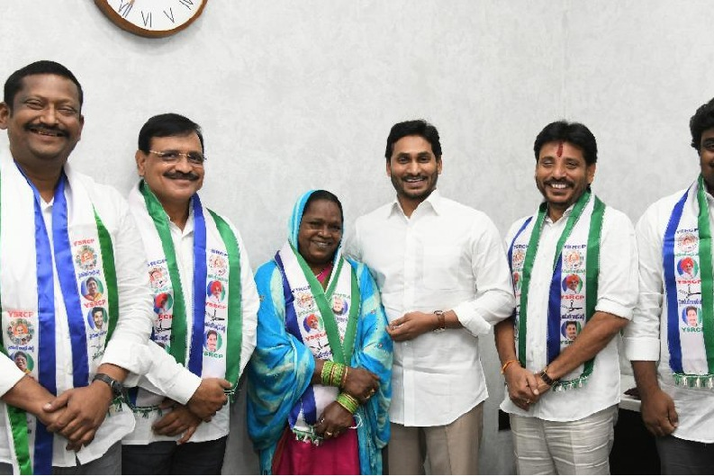 CM Jagan handed over B Farms to YSRCP MLC candidates in his camp office