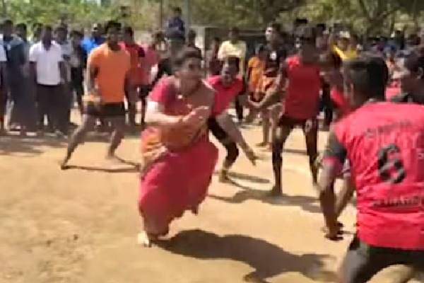 Roja plays Kabaddi in Chittoor district