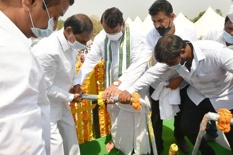 CM KCR releases water from Kondapochamma Sagar
