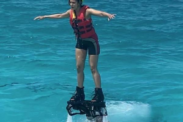 Rakul Tried Fly Board in Maldives