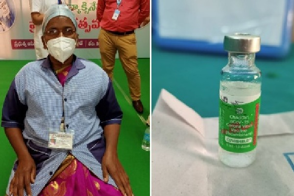 sanitation worker takes first vaccine in ap