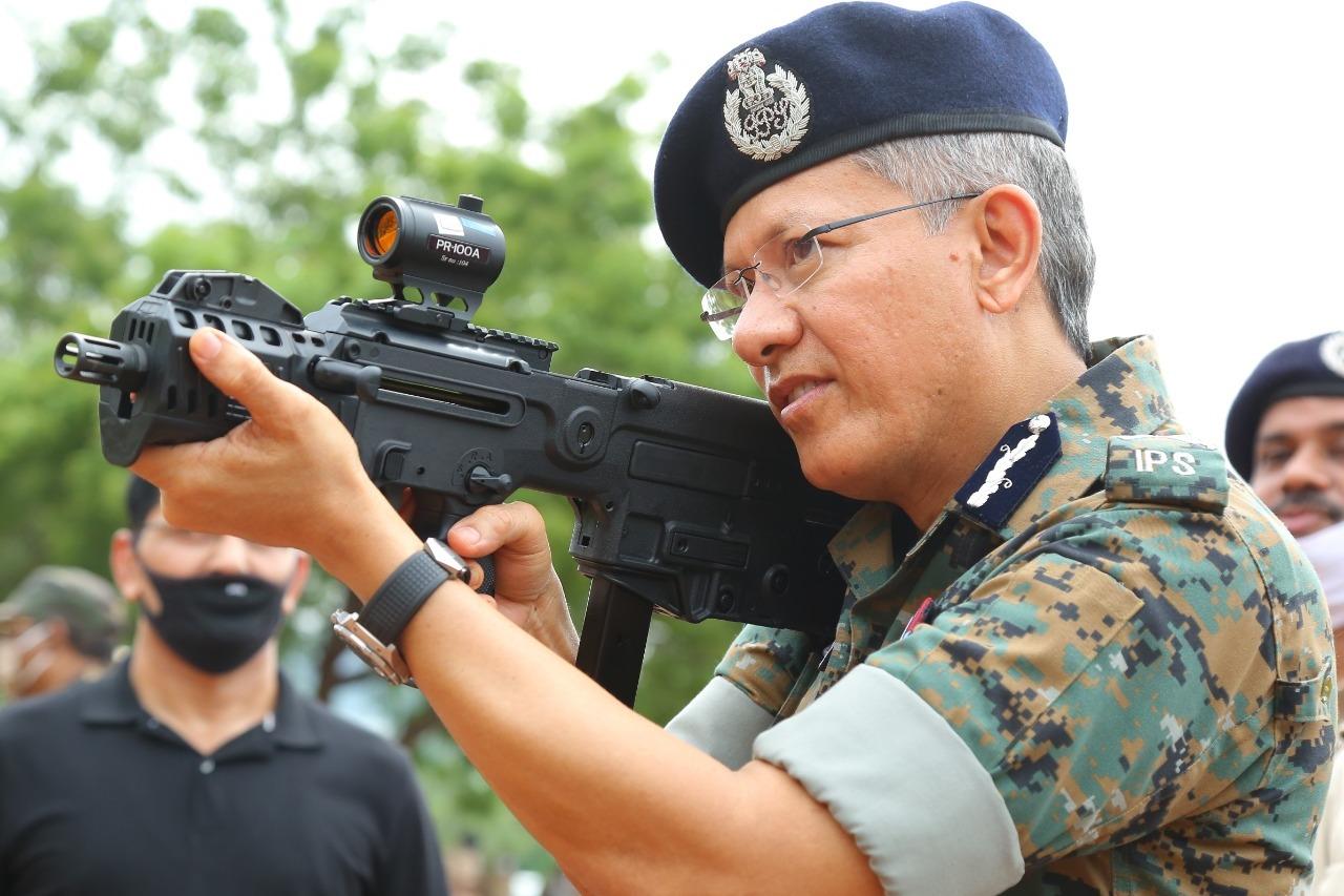 AP DGP Gautam Sawang visits APSP firing range at Mangalagiri