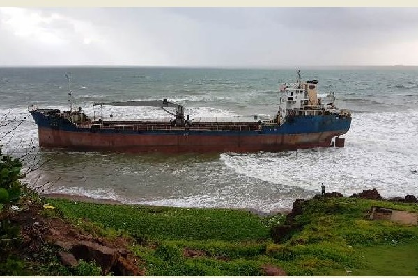 A merchant ship drifted onto the shore at Tenneti Park in Vizag