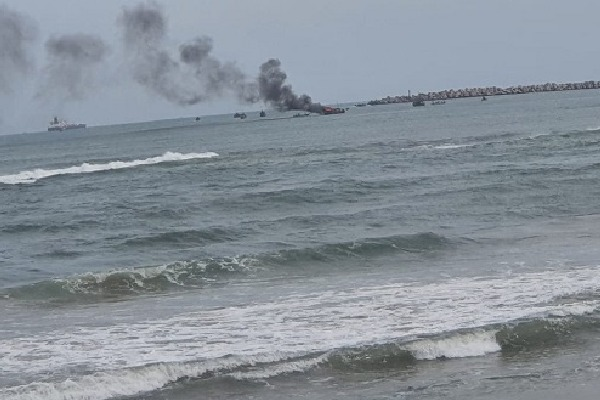 Fire accident near Vizag fishing harbour