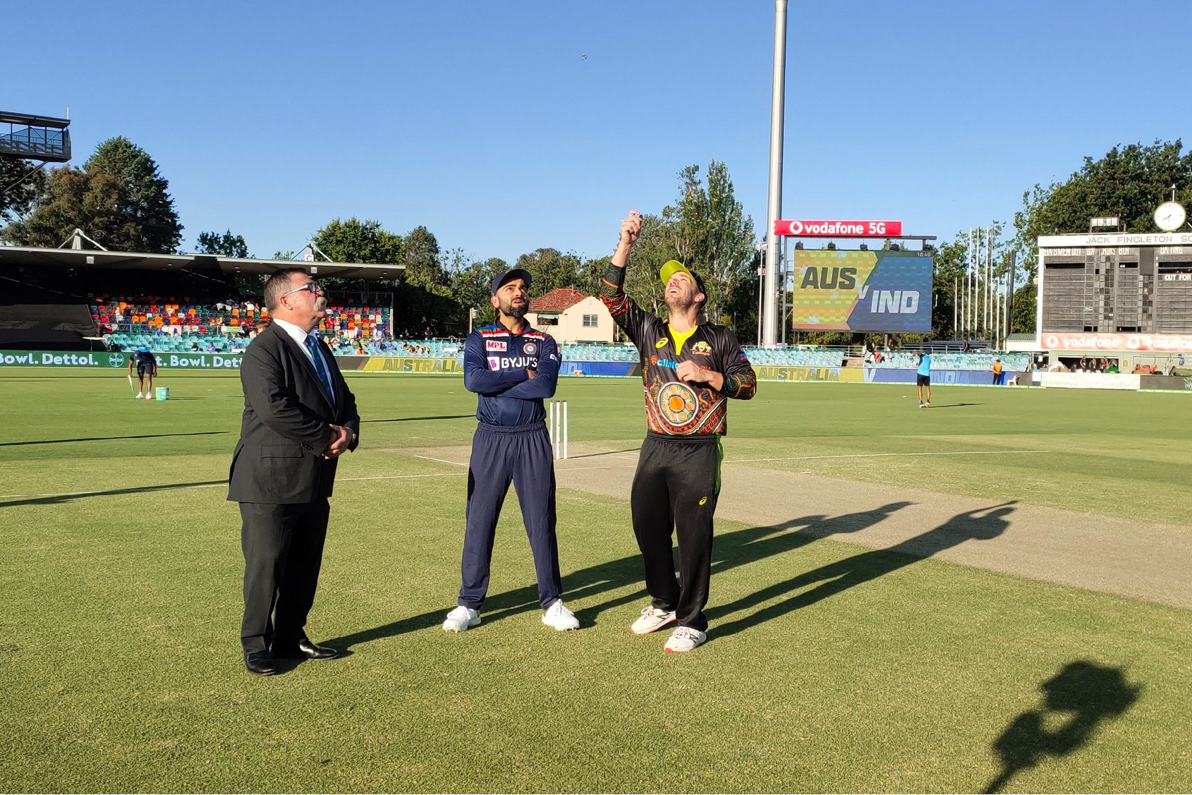 Australia won the toss and elected bowl first against Team India