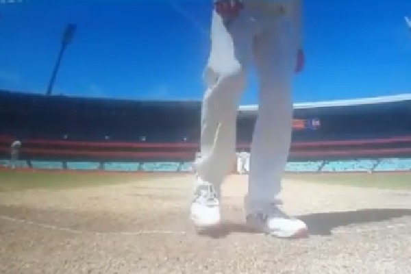 Aussie comes to shadow bat and scuffs out the batsmens guard marks