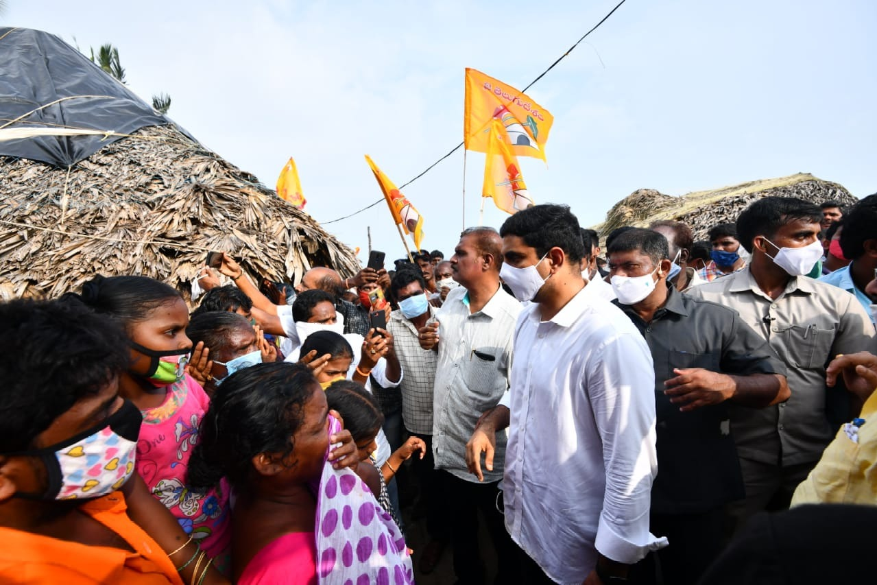 Nara Lokesh visits flood hit East Godavari district