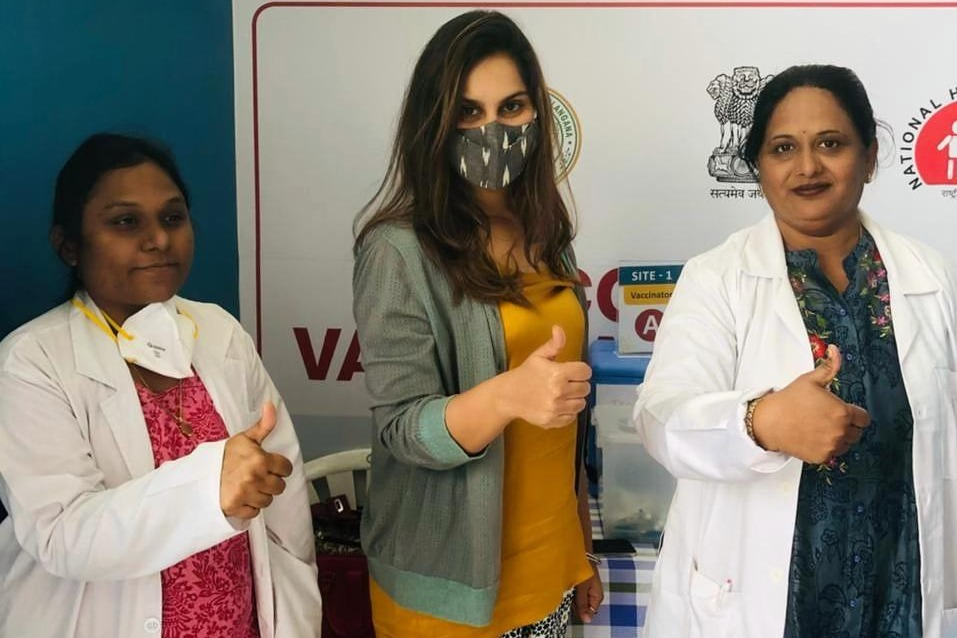 Upasana takes corona vaccine shot to put an end for fears