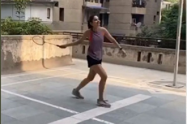 Rakul Preet spotted in Hyderabad while playing Badminton