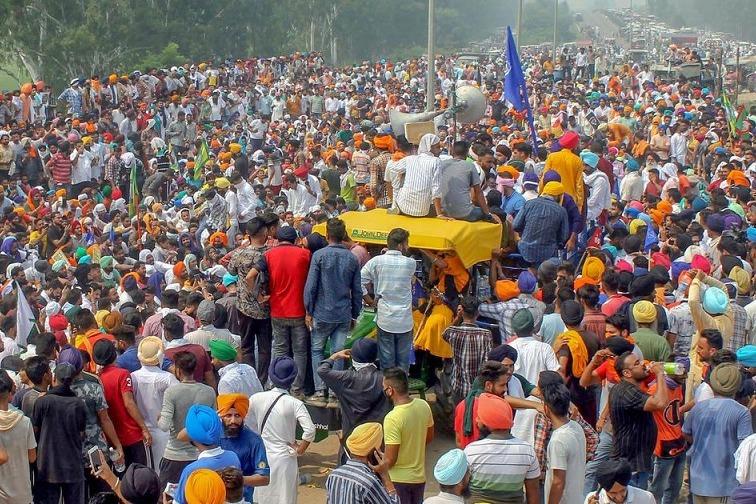 Punjab Farmers Camp at Haryana Border