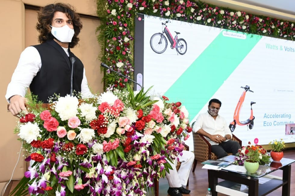 Vijay Devarakonda attends Telangana Government EV Policy release event