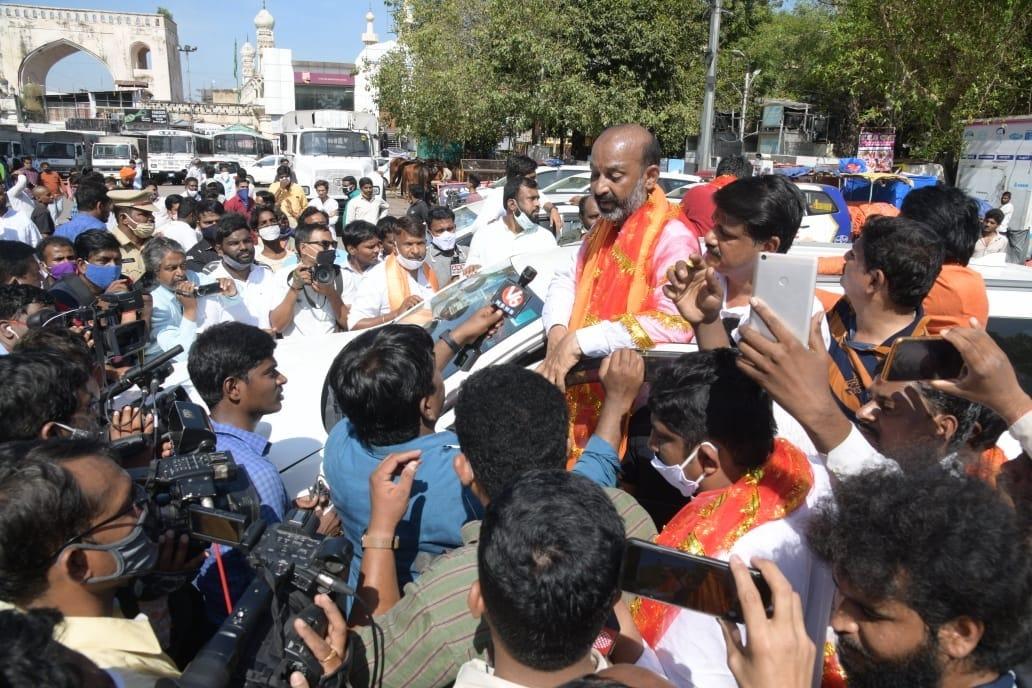 BJP cadre shouts Baharat Mata ki Jai slogans  at Charminar