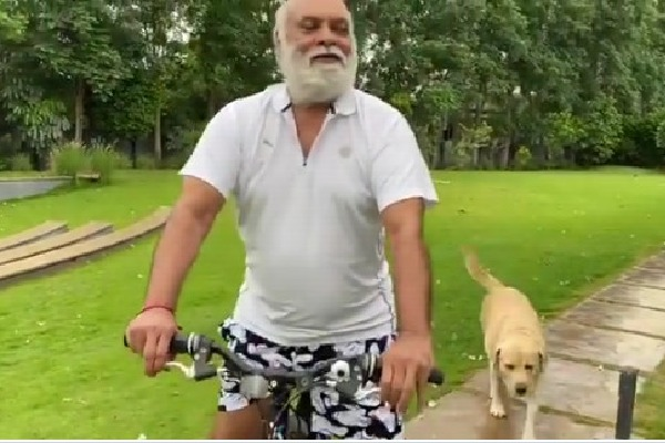 Raghavendra Rao cycling in his house