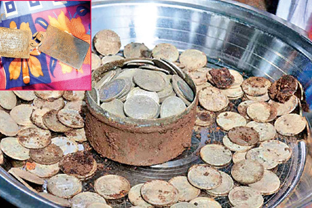 silver coins and  Copper inscriptions found in Srisailams Ghantamath