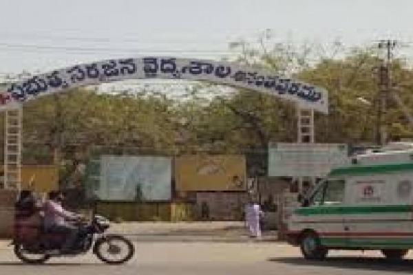 Corona Patients Walking Outside at Ananthapur Hospital