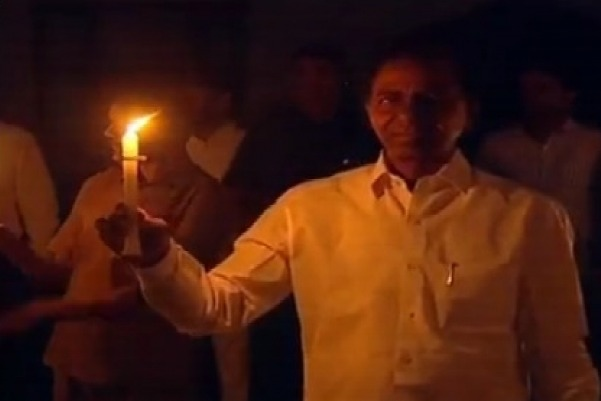 CM KCR appears with a candle at Pragathi Bhavan