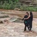 Two girls tries to a selfie and stranded in river as police rescued