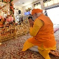 PM Narendra Modi offers prayers at Gurudwara Rakab Ganj Sahib in Delhi