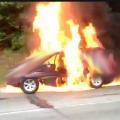 Car set into fire by goons at Vijayawada Novatel Hotel