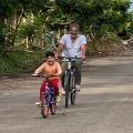 Prakash Raj cycling with his family members at farm house