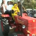 Congress MLA Indira Meena reaches Rajasthan Assembly on a tractor