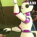 Robot helps voters to maintain Covid 19 in Kerala polling booth