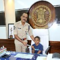Guntur SP Ammireddy handed over his charge to a cancer child