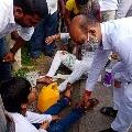 Telangana BJP Chief Bandi Sanjay helps a couple who injured on road