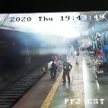 Railway police saves a woman life after she fell down on track