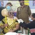 Indore Police dressed like Yamaraj to take corona vaccine