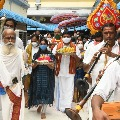 Special Poojas in Indrakeeladri Durgamma on behalf of Ashdanasan First Day