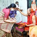 Vijayasai Reddy and his wife gets blessings from Swami Swaroopananda