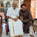 Chiranjeevi visits K V iswanath along with his wife Surekha
