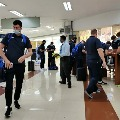 England Cricket team and staff arrive at Chennai Airport