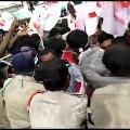 Students Union protests at minister Botsa house in Vijayanagaram