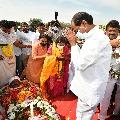 CM KCR attends Nomula Narsimhaiah funerals