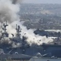 Explosion on ship at US naval base injures 21